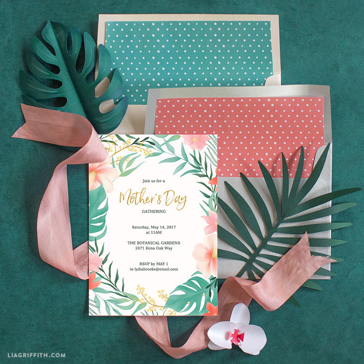 tropical mother s day invitations lia griffith