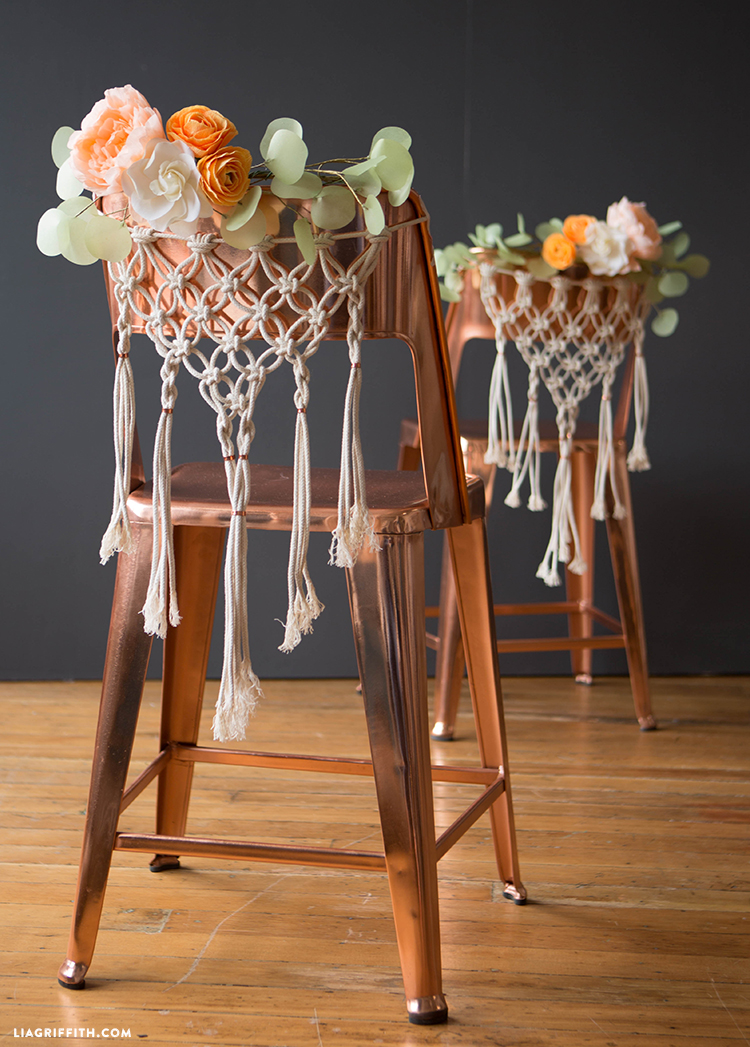 Diy macrame chair decor for weddings pattern and tutorial macrame wedding chairs diy wedding chairs macrame wedding chair decor junglespirit Gallery