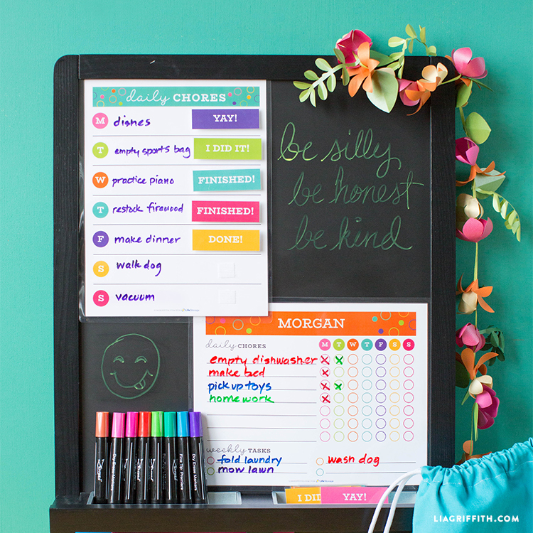 Printable Chore Chart Template Lia Griffith