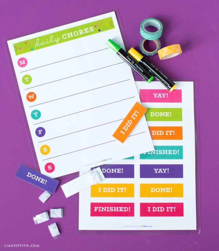chore card templates