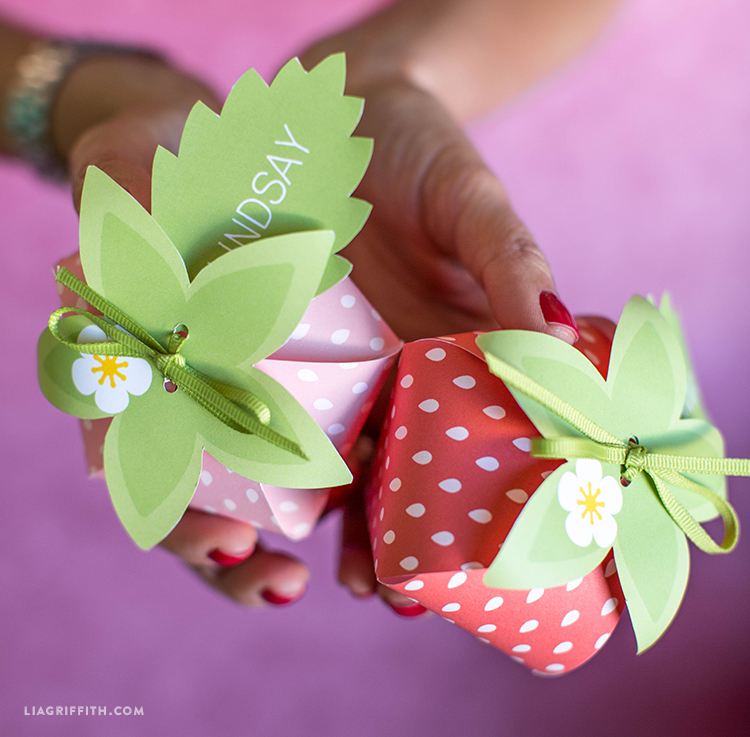 Hand holding red and pink strawberry treat boxes with leaf name tags