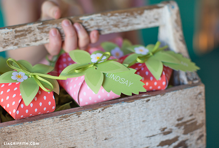 Person holding strawberry treat boxes