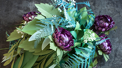 Frosted Paper Flowers & Greens