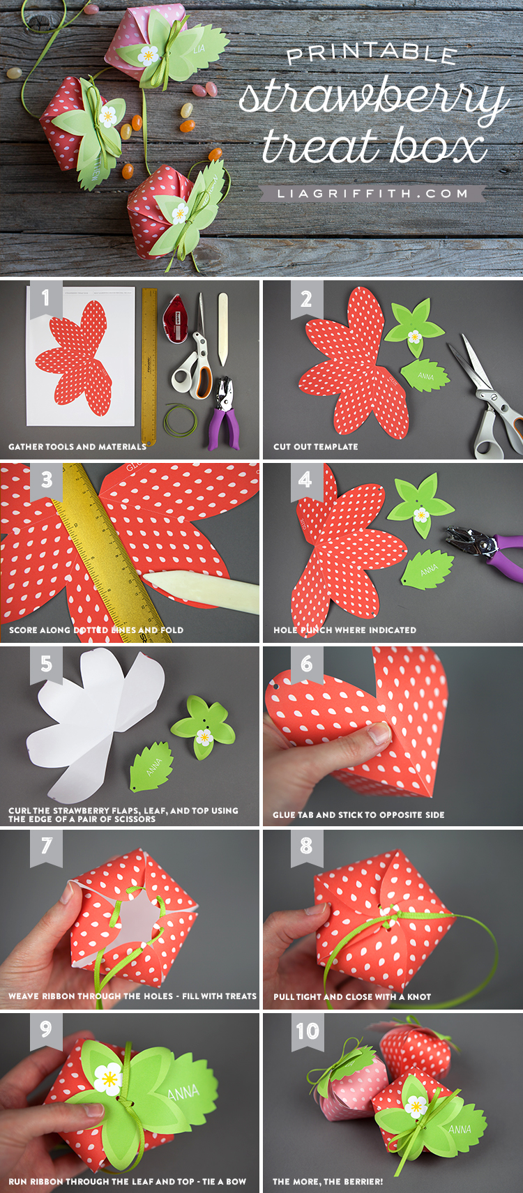 DIY photo tutorial for printable strawberry treat boxes by Lia Griffith