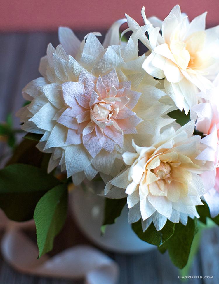 handmade crepe paper dahlias