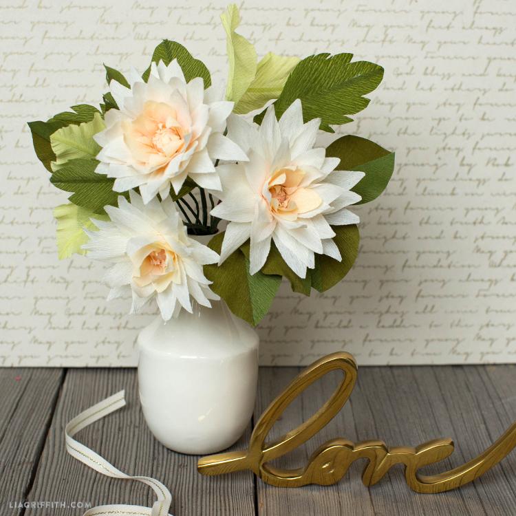 crepe paper dahlia bouquet