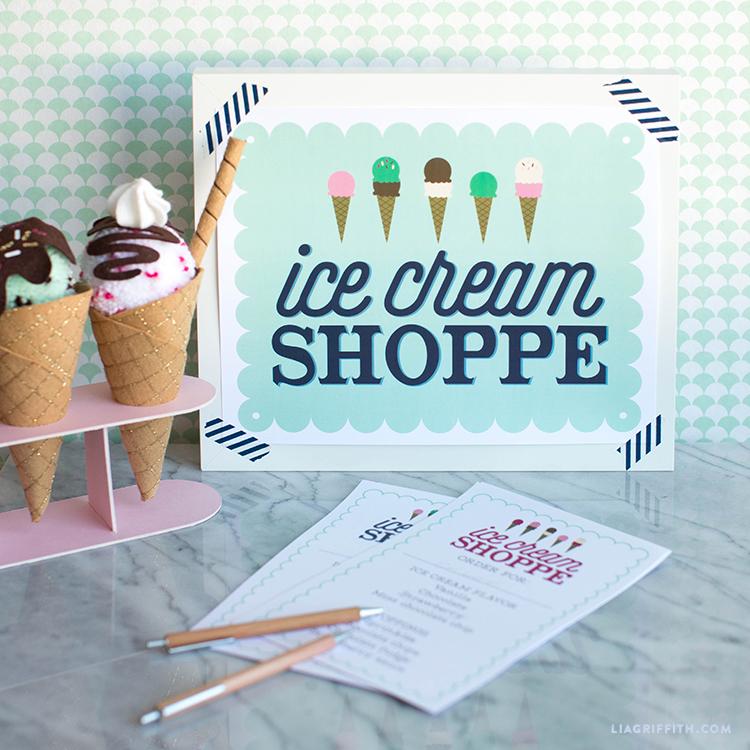 ice cream shop printables