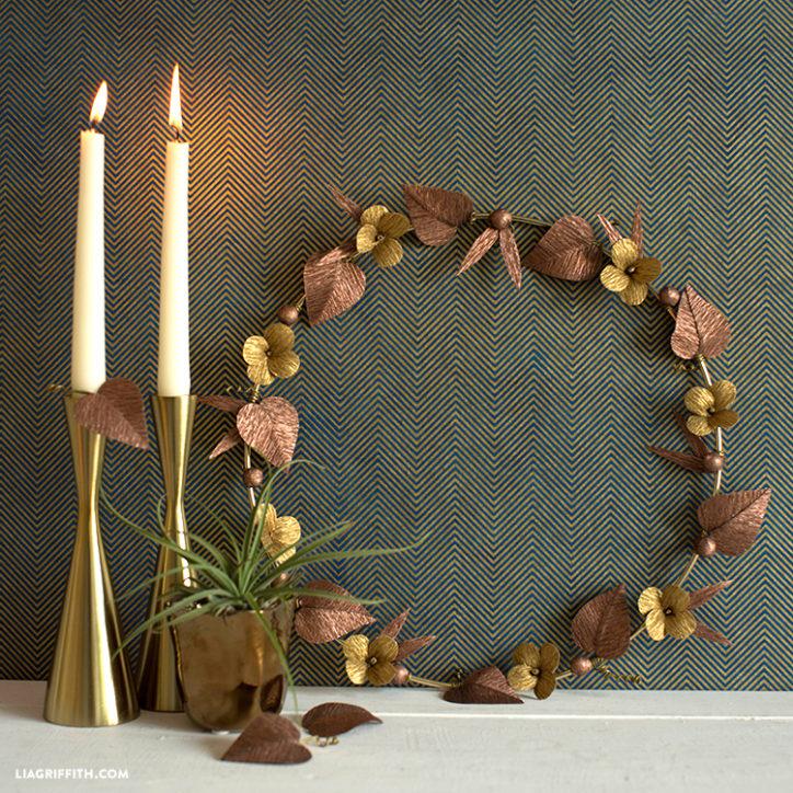 Gold & Copper Crepe Paper Wreath