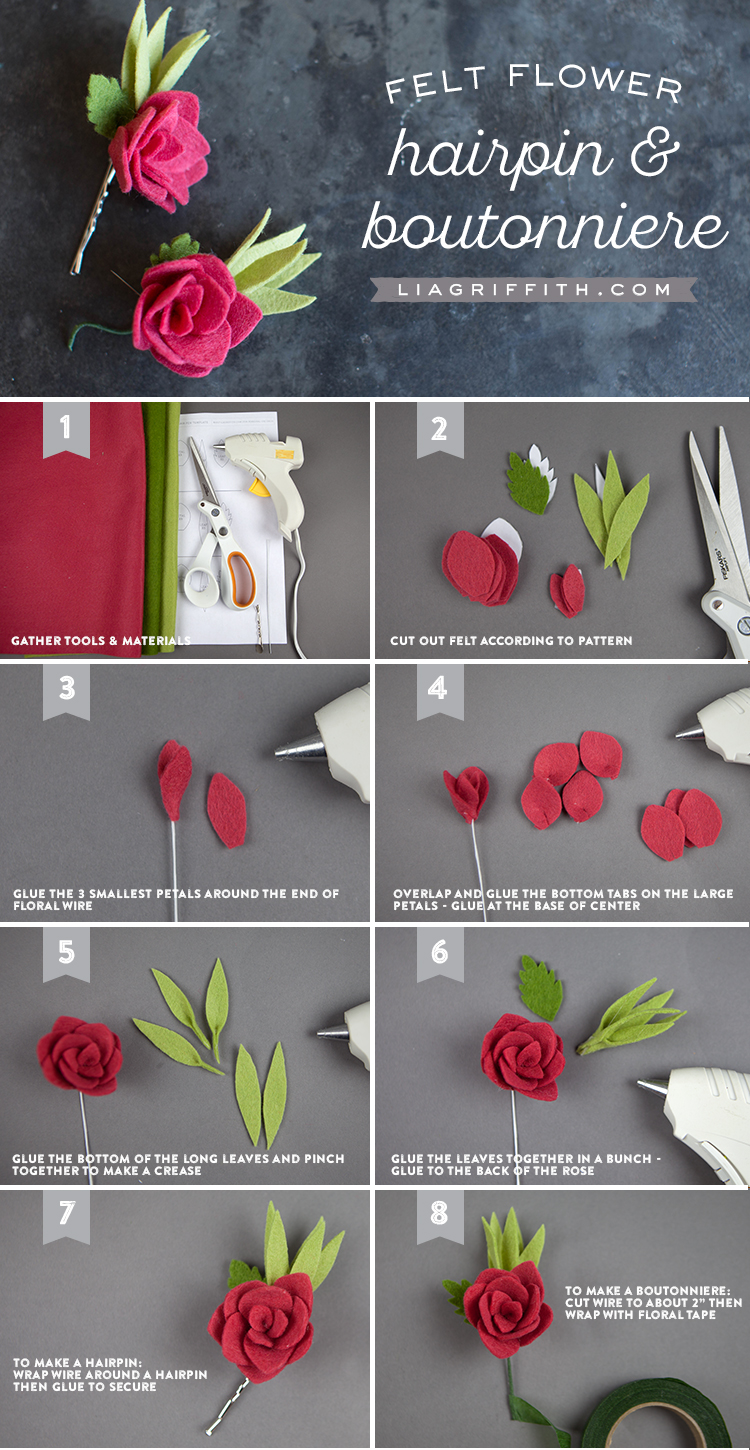 Felt Rose Hair Pin And Boutonniere Lia Griffith