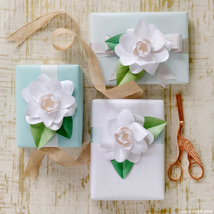 diy paper flower present toppers