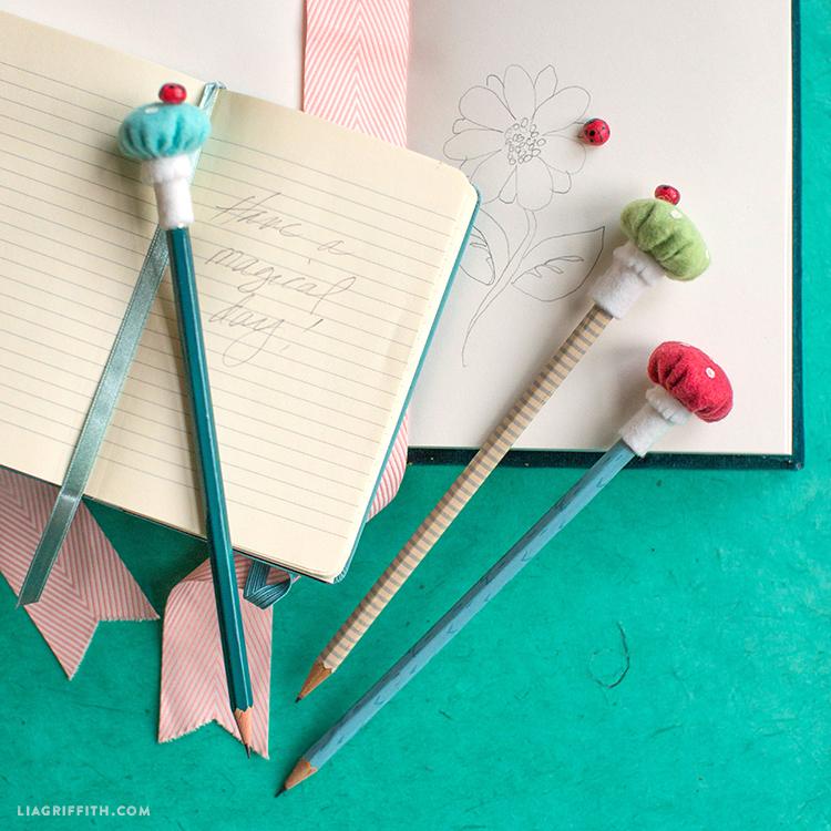 felt mushroom pencil toppers
