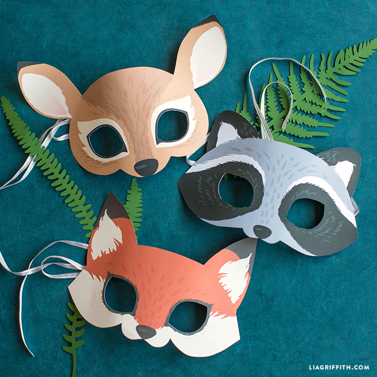 photograph relating to Free Printable Woodland Animal Templates identified as Printable Woodland Animal Masks - Lia Griffith