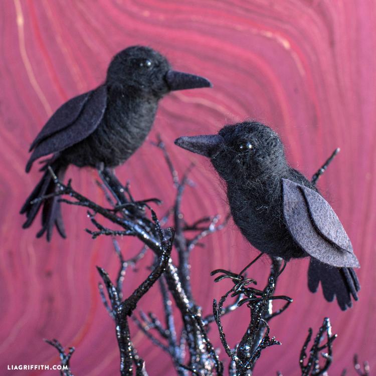 needle felted raven