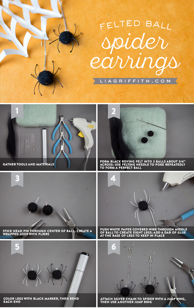 Felted Spider Earrings - Lia Griffith