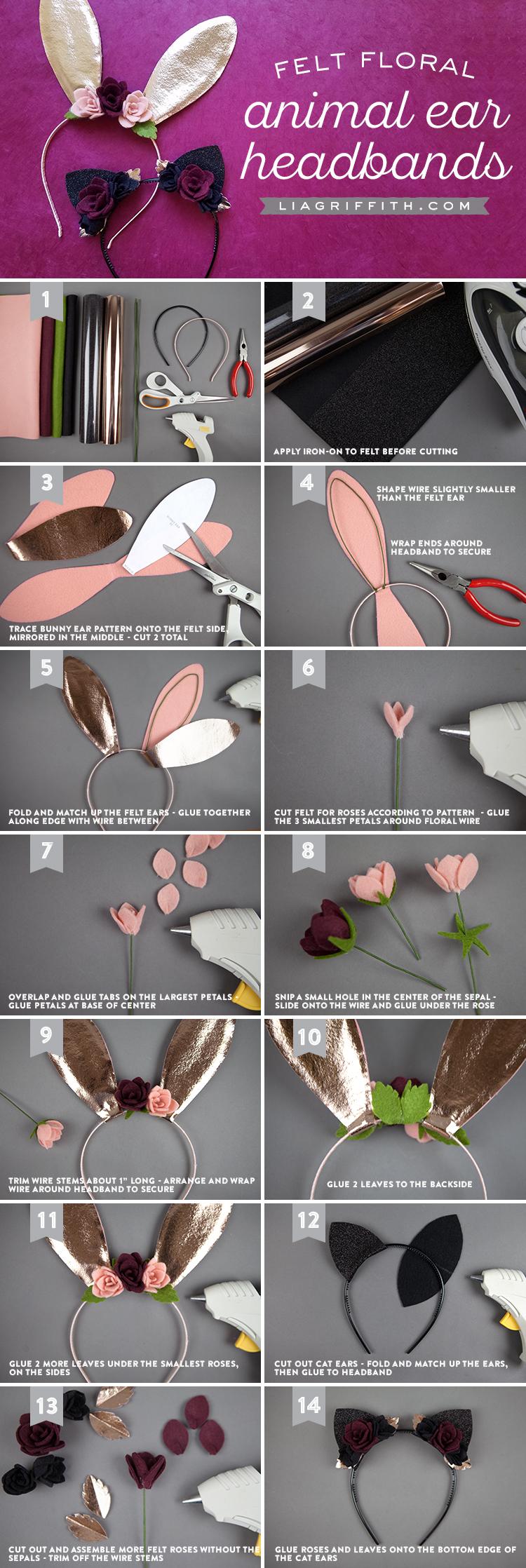 DIY cat and bunny ears for Halloween headbands by Lia Griffith