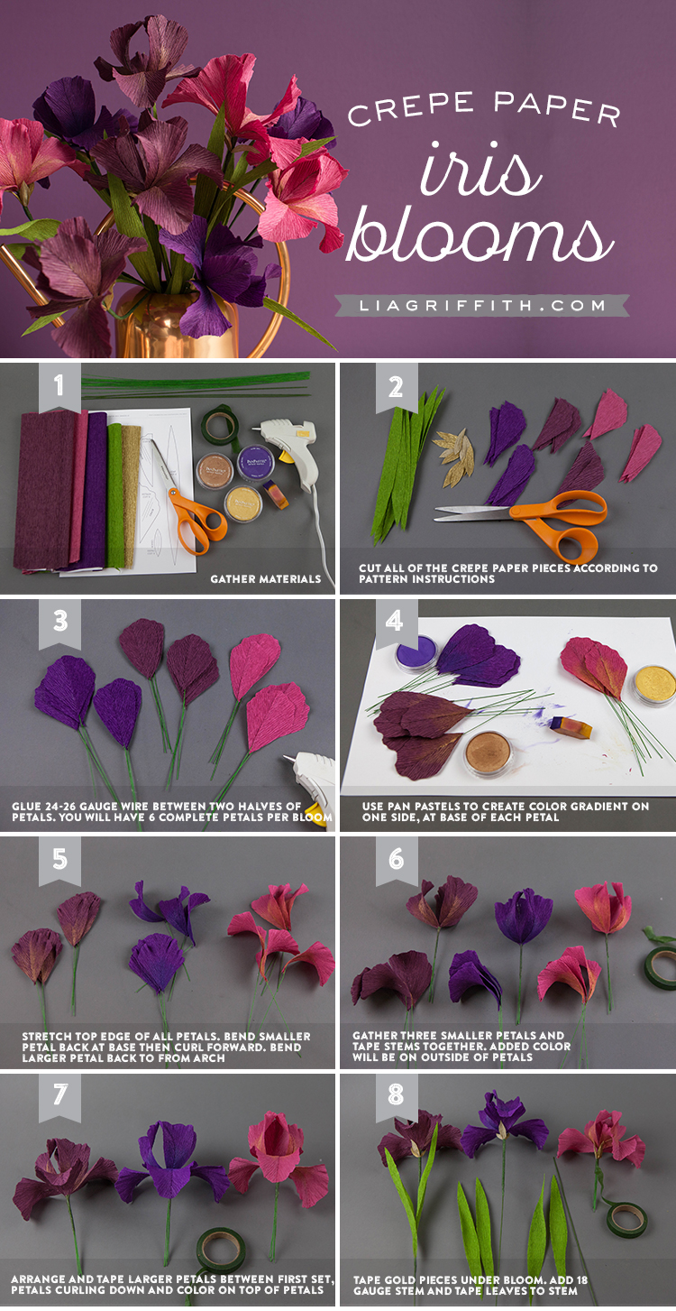 Crepe Paper Iris With Svg Cut File Lia Griffith