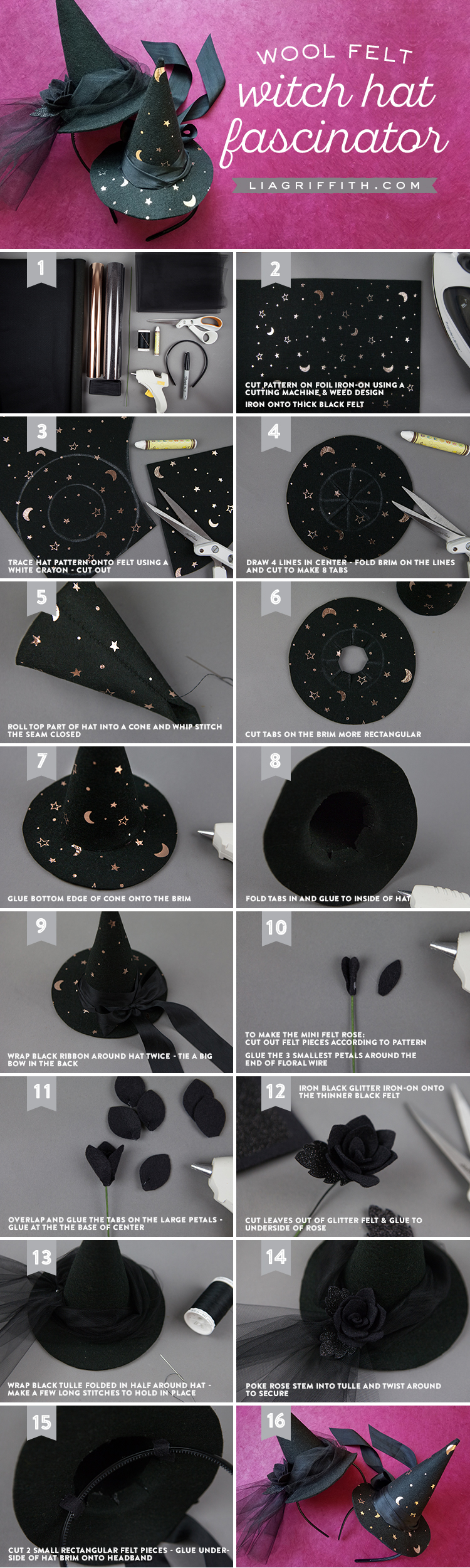 DIY Witch Hat Fascinators for Halloween - Lia Griffith 68dfbaa4380
