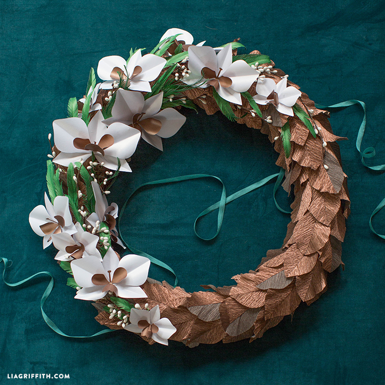 paper orchid flower wreath