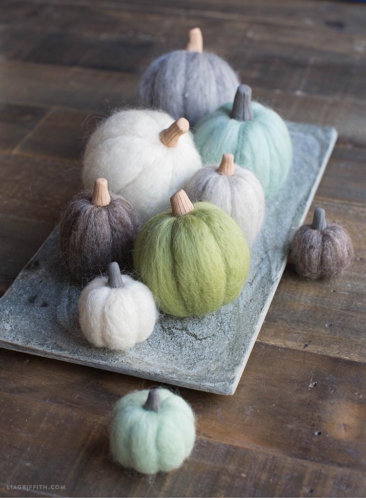 Needle felted mini pumpkins on tray