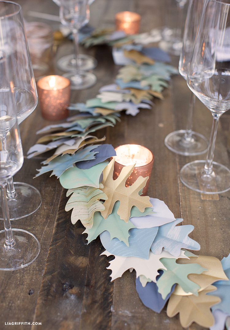 paper leaf garland for fall
