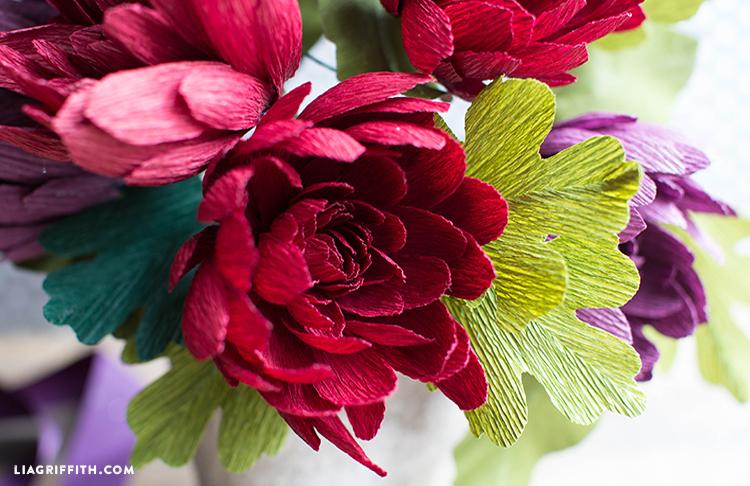 crepe paper mum flower