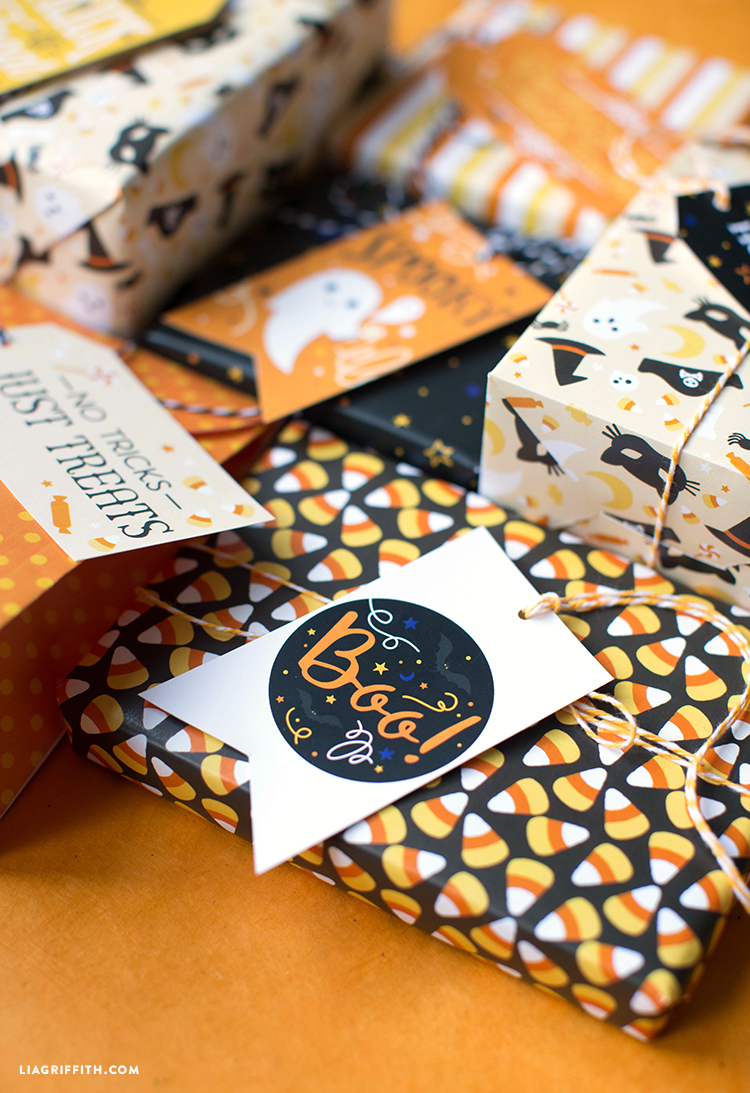 printable halloween gift wrap