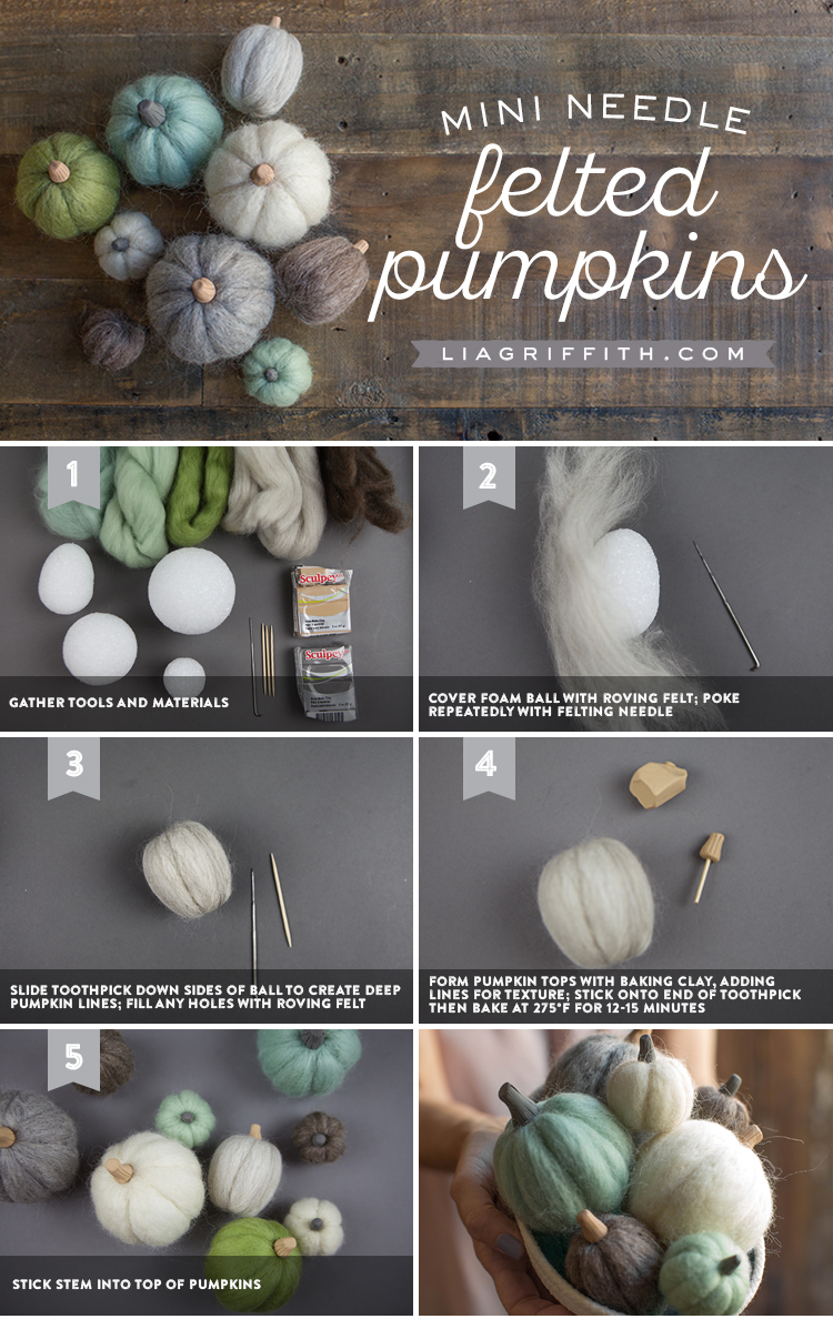Photo tutorial for mini felted pumpkins by Lia Griffith