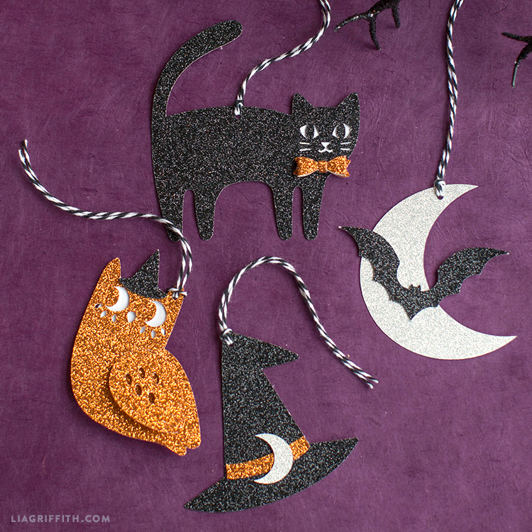 diy glittery halloween tags