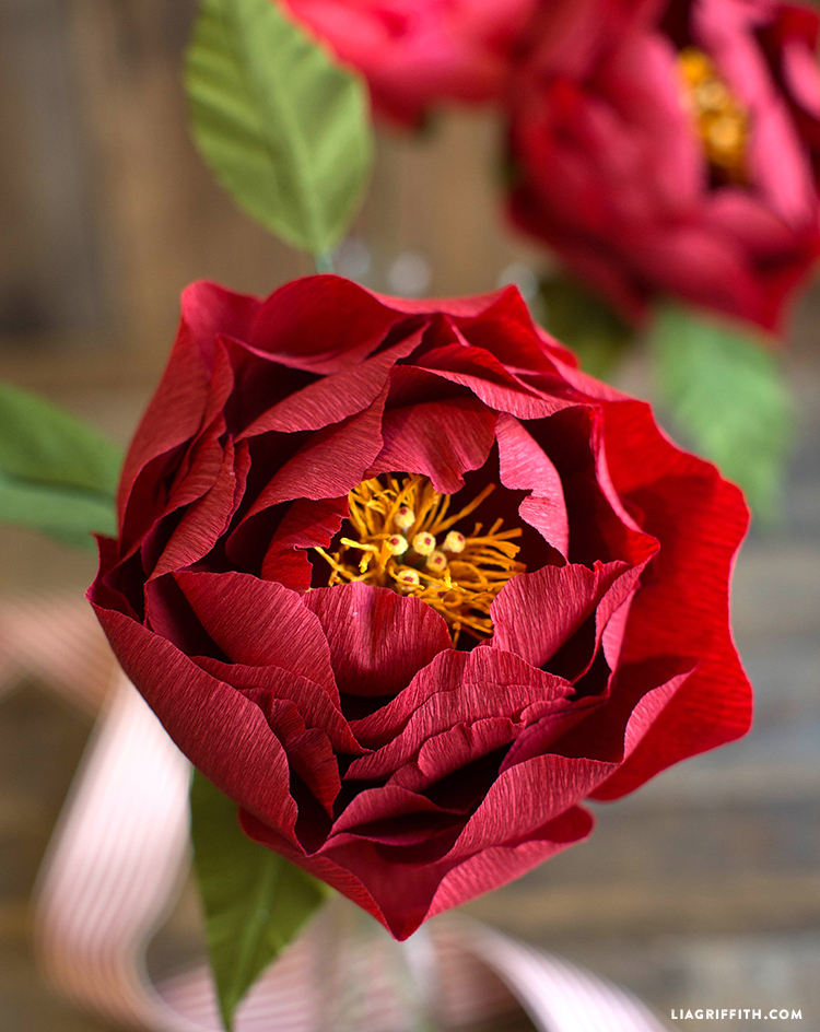 diy red crepe paper peony for fall