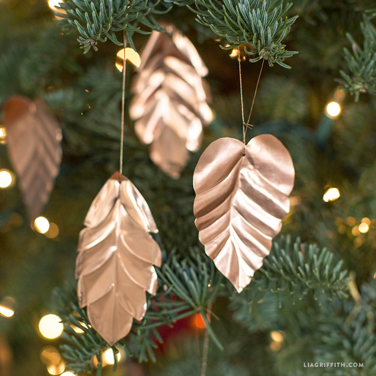 copper leaf ornaments