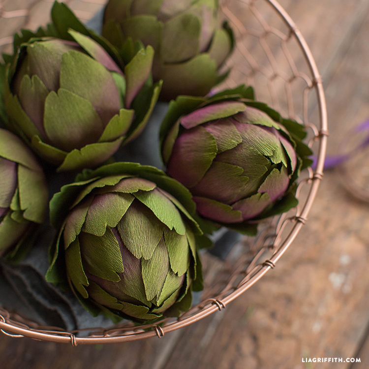 double sided crepe paper artichokes