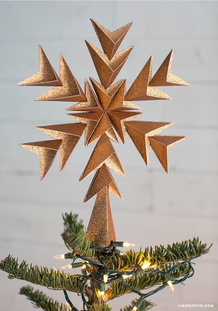 glitter paper star tree topper
