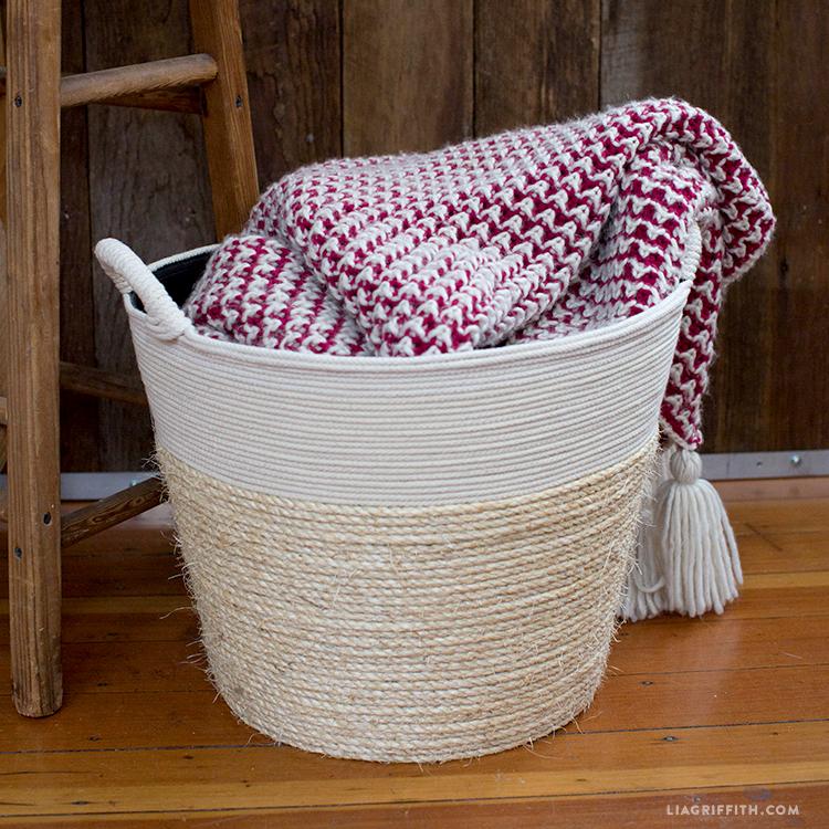 diy rope wrapped basket