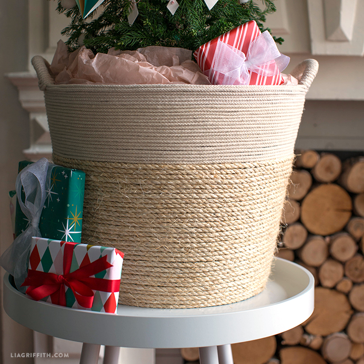 rope wrapped tree basket