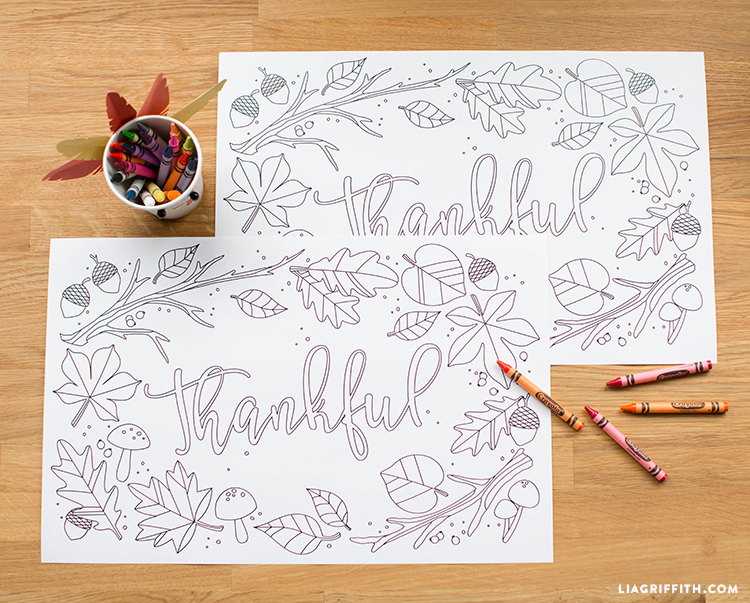 graphic regarding Thanksgiving Placemats Printable identify Young children Thanksgiving Coloring Placemats - Lia Griffith