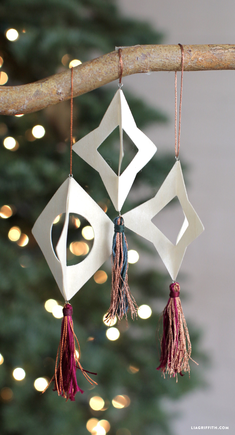 woodcut tassel ornaments