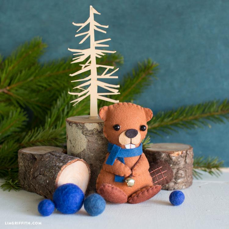 felt beaver toy