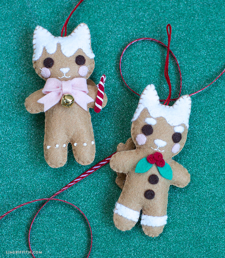 felt cat and dog ornaments