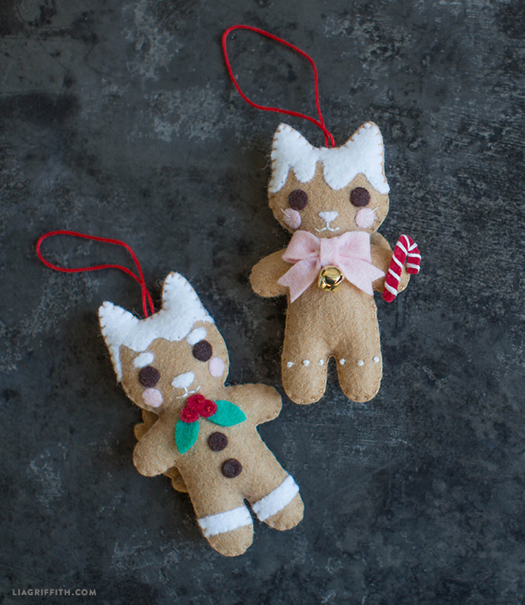 felt gingerbread animal ornaments