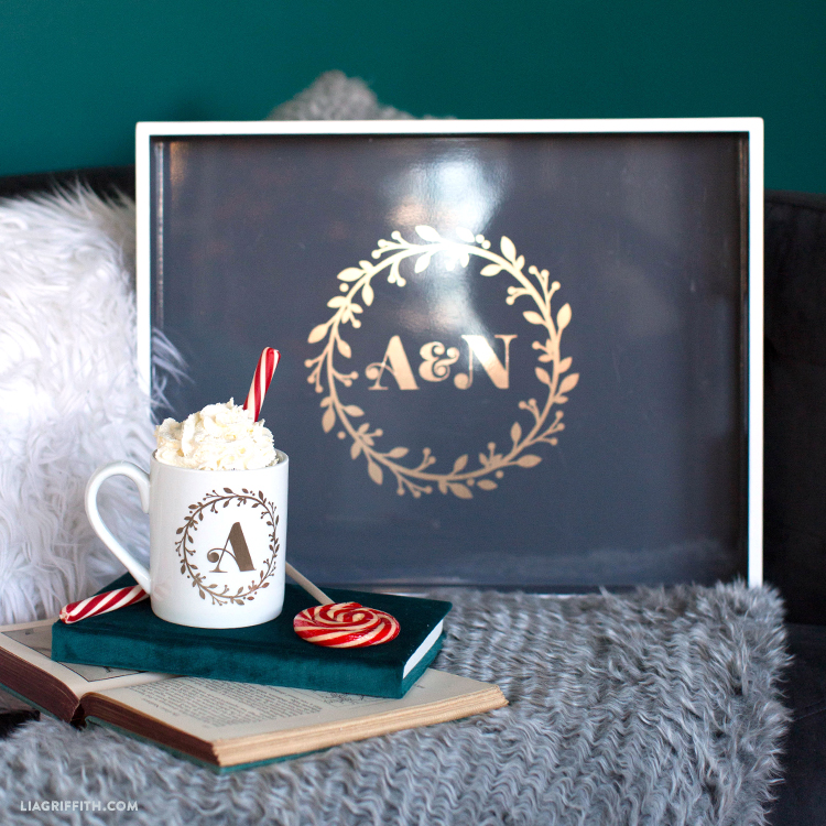 vinyl monogram for holiday gifts
