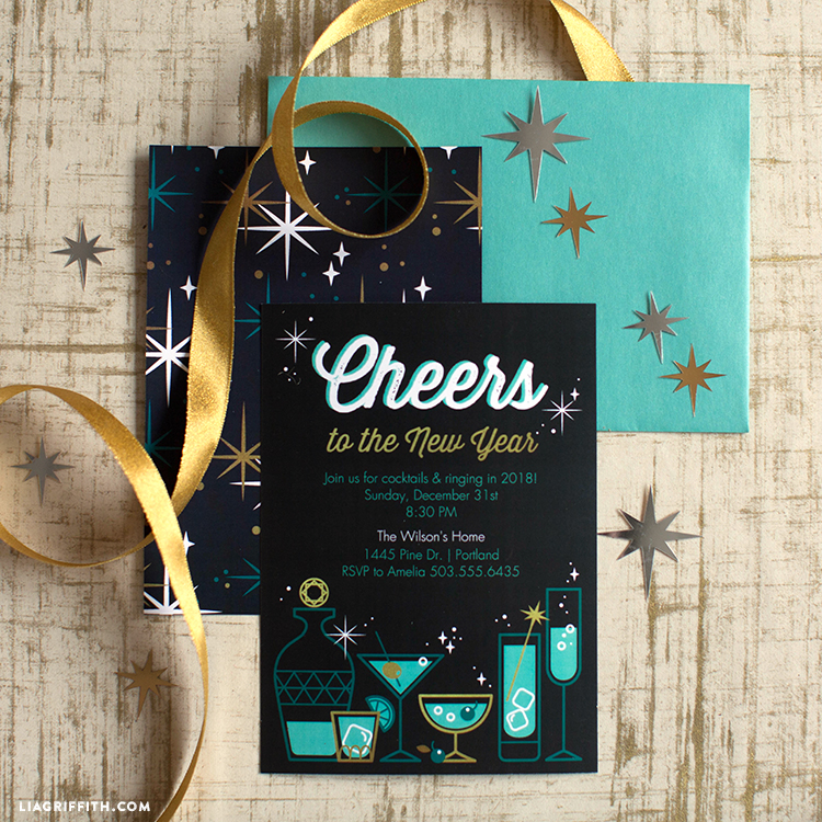 retro new year's eve party invitations