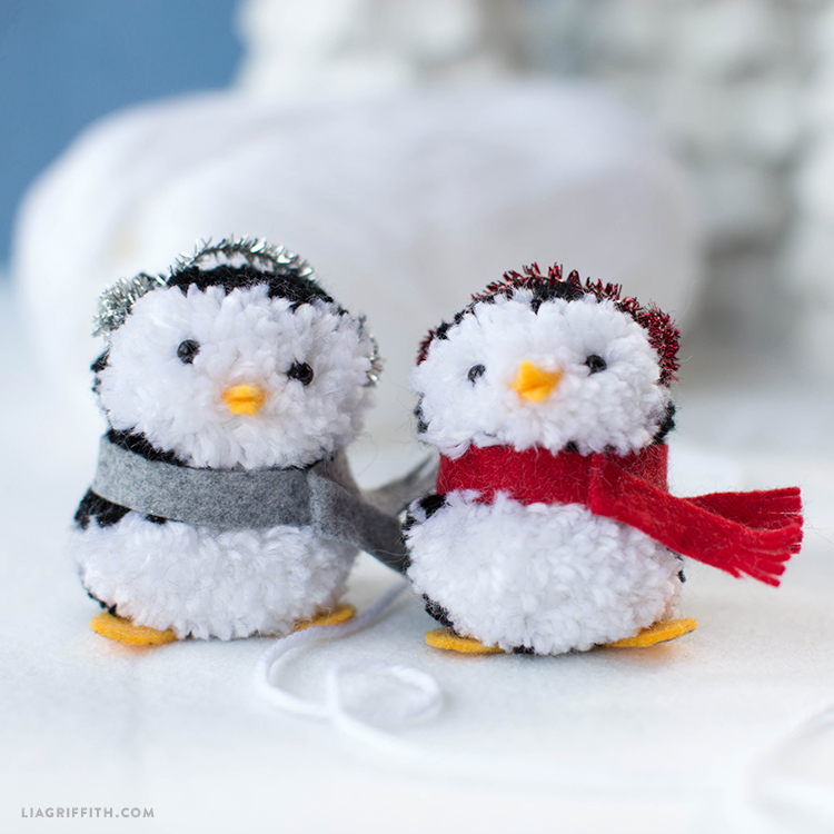 pom pom penguin ornaments