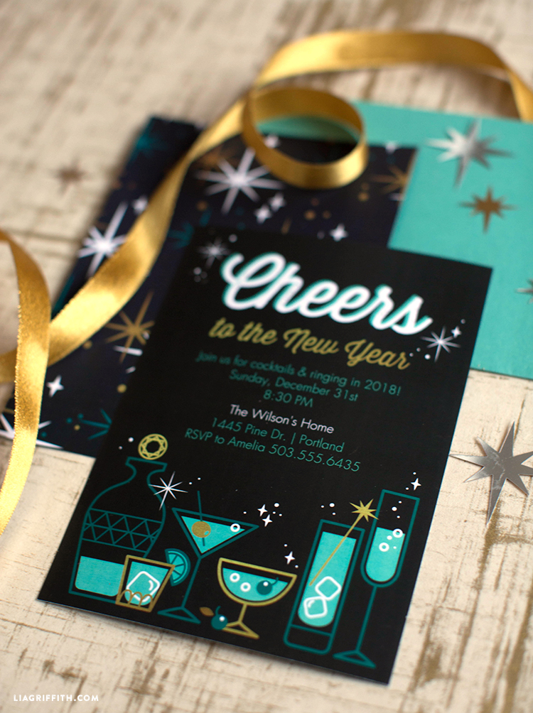 Retro New Years Eve Party Invitations Lia Griffith