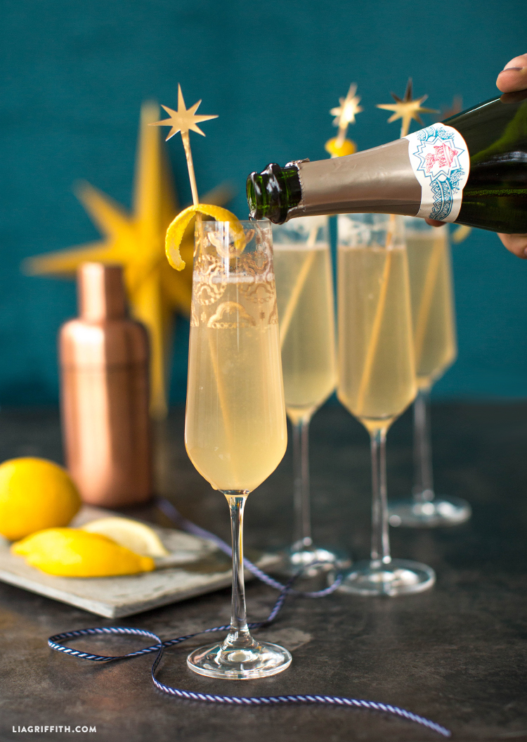 champage cocktail recipe and star stirrers