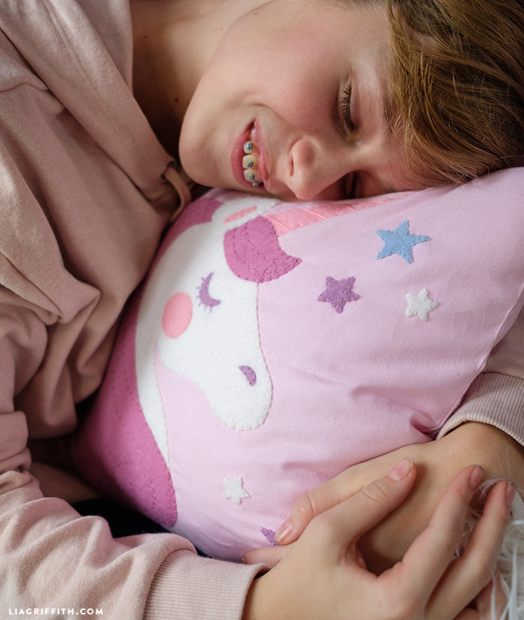 felt unicorn pillow