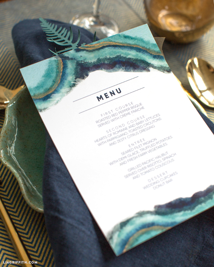 photograph about Printable Wedding Menus referred to as Obtain and Print Watercolor Marriage Menus