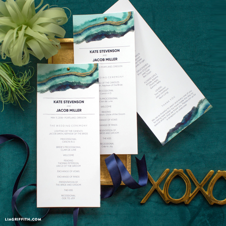download and print our watercolor wedding programs