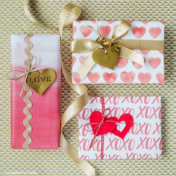 valentine's gift wrap and tags