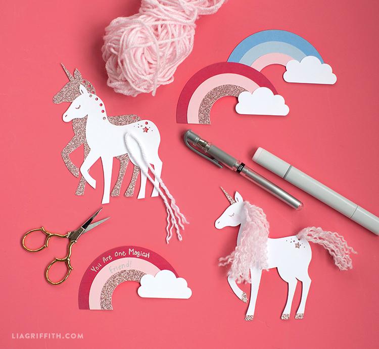 papercut unicorn valentine's tags