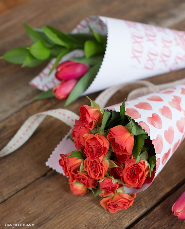 valentine's day flower cones